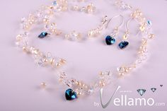 Illusion set: blue crystal hearts, pearl and Swarovski crystals bracelet, silver earrings, necklace, sterling silver, FREE Shipping, $120.00
