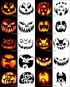 Free Printable Halloween Pumpkin Carving Stencils, Patterns, Designs, Faces & Ideas - New Deko Sites Scary Pumpkin Carving Patterns, Disney Pumpkin Carving, Halloween Pumpkin Carving Stencils, Creepy Pumpkin, Scary Halloween Pumpkins, Amazing Pumpkin Carving, Pumpkin Carving Templates, Halloween Halloween, Creative Pumpkin Carving Ideas