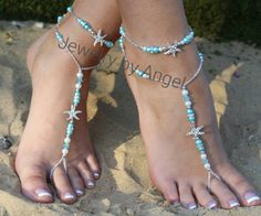 Turquoise Blue Starfish Foot Jewelry Anklet Set Beach Wedding | barefootjewelrybyangel -  on ArtFire
