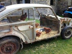 Nooit een oude auto wegdoen .... heb je zomaar een kippenhok!