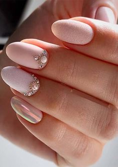 49 Fabulous Pink Nail Art Designs Ideas That Looks Cool - Pink Glitter Nails, Pink Nail Art, Bright Pink Nails, Pink Manicure, Rhinestone Nails, Cute Nails, My Nails, Pretty Nails, Rose Brillant