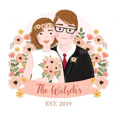 Illustrate cute personal, couple or family cartoon portrait by Mutnisg Family Illustration, Portrait Illustration, Botanical Illustration, Couple Portraits, Wedding Portraits, Wedding Reception Invitation Wording, Couple Painting, Wedding Gifts For Couples, Portrait Sketches