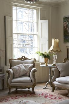 love the curve of the chair and sofa, the soft neutral tones and the inside shutters #Design #Luxury #Elegant #Sofa http://www.bykoket.com/all-products.php#sofas-chaises-day-beds