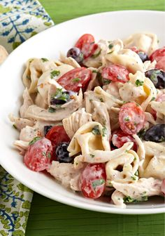 Greek Chicken Tortellini Salad – Take all the credit for this Greek-inspired salad. No need to tell anyone you used ready-made cheese tortellini and rotisserie chicken!