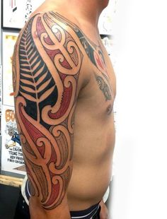 Cool Maori Tattoo Design Ideas For Men Half Sleeve With Red And Black Ink