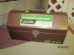 Fantastic Vintage John Oster Cummins Portable Tools Brown Metal Toolbox Original Graphics Drill Saw Kit Steampunk Industrial Storage by EvenTheKitchenSinkOH on Etsy