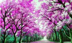 Dessin et peinture - vidéo 2008 : La rangée d'arbres le long de la route (étude de perspective) - peinture acrylique ou peinture à l'huile.