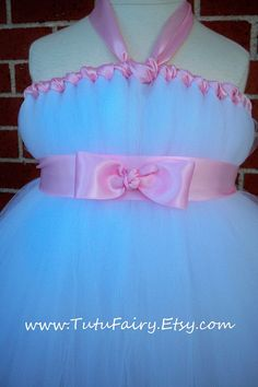 Flower Girl Tutu Dress White and Pink Bow Tie Sash by TutuFairy, $48.00