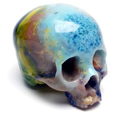 Waste Skulls - Nothing in Brownister Hen's studio goes to waste – take these resin skulls produced from elements of previous paintings. Left over resin is poured into a mould, hence the random layering of different coloured resins. The object is then sanded and highly polished.