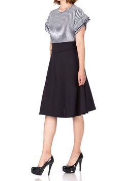 Stunning Wide High Waist A line Full Flared Swing Office Dance Party Casual Circle Skater Midi Skirt Black 01 Midi Skirt Casual, Full Midi Skirt, Black Midi Skirt, Full Circle Skirts, Long Maxi Skirts, Summer Skirts, A Line Skirts, Skater Skirt, Belly Dance Skirt