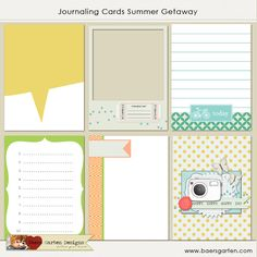 Summer Getaway Journaling Cards by Baers Garten Designs - Two Peas in a Bucket Project Life Karten, Project Life Album, Project Life Cards, Project 365, Scrapbooking Layouts, Scrapbook Cards, Happy Happy Happy, Printable Stickers, Free Printables