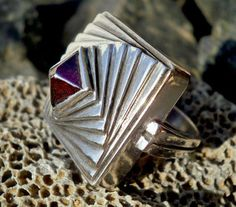 Pyramid ring sterling silver with Garnet by CosmolithosCreations