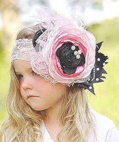 Look what I found on #zulily! Hot Pink & Black Flower Garden Headband by Head over Heels #zulilyfinds