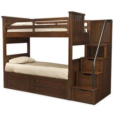 Legacy Classic Kids Dawson's Ridge Twin-over-Twin Bunk Bed with Stair & Handrail Storage Pedestal