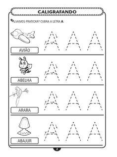 Imagens Caderno de Caligrafia do Alfabeto bastão pontilhado, cada imagem contem varias letras bastão para cobrir, 4 figuras, cada com a pala...