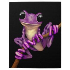 Purple Tree Frog | Cute Purple Tree Frog on a Branch on Black Jigsaw Puzzles