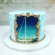 Beautiful sail boat cake with baroque details made by Liliana Da Silva from Sugarella Sweets Boat Cake, Cakes And More, Wedding Cakes, Sailing, Birthday Cake, Sweets, Baby Shower, Cake Ideas, Baroque
