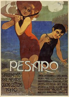"By Roberto Franzoni Italy), Tourism poster for Pesaro, Italy. Pesaro is a town and comune in the Italian region of the Marche, capital of the Pesaro e Urbino province, on the Adriatic. Pesaro is known as ""City of Bicycle"". Vintage Beach Posters, Vintage Italian Posters, Poster Vintage, Vintage Advertisements, Vintage Ads, Vintage Magazine, Original Vintage, Art Nouveau, Vintage Typography"