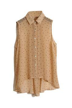 Dots Printed Light Khaki Chiffon Shirt [NCSHM0221] - $21.99 :