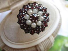 Bohemian Garnet Silver Ring, European , Seed Pearls from inspiredbynanny on Ruby Lane