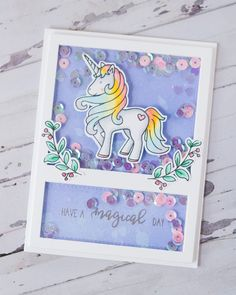 Unicorn shaker with all the sparkles! Made especially for my daughter's friend. Have a wonderful day! Funny Printable Birthday Cards, Unicorn Birthday Cards, Birthday Greeting Cards, Greeting Cards Handmade, Tarjetas Diy, Neat And Tangled, Unicorn Crafts, Easel Cards, Shaker Cards