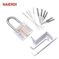 NAIERDI 3 In 1 Set Locksmith Tools Practice Transparent Lock Kit With Broken Key Extractor Wrench Tool Removing Hooks Hardware