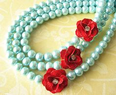 Bridal Jewelry Red and Turquoise Necklace Aqua by zafirenia, $63.00