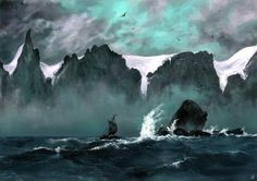 Sailing by the seven sisters a digital Art painting by Peder Balke,