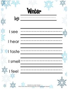 Free This can be used to write poems about winter in a kindergarten classroom using the five senses. Children decide what to write and write the sounds they hear using inventive spelling. Kindergarten Science, Kindergarten Classroom, Kindergarten Christmas, Teaching Writing, Writing Activities, Kids Writing, Winter Activities, Poetry For Kids, First Grade Writing