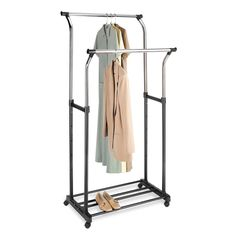 This steel garment rack will help you keep your closets organized. This rack is…