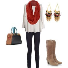 knit scarf, beautiful earrings, and who doesn't love cowboy boots?