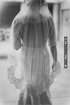 lace wedding veil over sheer back gown by Kara Gowns | CHECK OUT MORE IDEAS AT WEDDINGPINS.NET | #weddingfashion