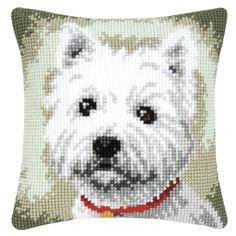 Little Westie Pillow Top - Cross Stitch, Needlepoint, Embroidery Kits – Tools and Supplies