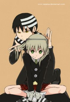 Kid and Maka. Haha I love how Kid is measuring Maka to see if she's symmetrical. Too cute! whoever drew this was a genius