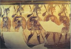 Evolution of shorter spears & better armor -Around Homer's Trojan War (circa 13th BCE), archaeological evidence suggests a change in the arms & armor system of the Mycenaean army. Newer shield types were adopted in place of the iconic figure-eight (& tower) varieties. These new patterns, were more flexible, comprised the famed aspis (circular shield) & inverted pelta (almost circular, but with a cut-out at the bottom).  The elongated spear was also ditched for shorter  spears (5-6ft…