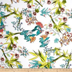 Rayon Voile Floral Multi from @fabricdotcom  This lightweight rayon voile fabric is light weight, semi sheer and has a soft hand. It is perfect for creating stylish peasant blouses, skirts, tunics and dresses. It can also be layered to give more fullness to dresses and skirts. Colors include orange, teal, yellow, green and black on a white background.