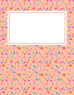 Free printable confetti binder cover template. Download the cover in JPG or PDF format at http://bindercovers.net/download/confetti-binder-cover/