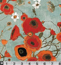 This gorgeous sophisticated poppy print is part of a first fabric line for artist Karen Tusinski.