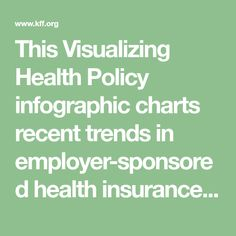 This Visualizing Health Policy infographic charts recent trends in employer-sponsored health insurance premiums. Between 1999 and premiums increased by 203 percent, outpacing both inflation a… Best Health Insurance, Employee Benefit, Charts, Infographic, Trends, Graphics, Infographics, Graph Of A Function, Beauty Trends
