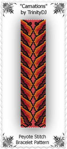 """New in my Etsy shop: """"Carnations"""" - Odd Count Peyote Stitch Bracelet Pattern - One of A Kind In The Raw Design. Please follow this link for more info: https://www.etsy.com/listing/170155866/bp-flo-121-carnations-odd-count-peyote"""