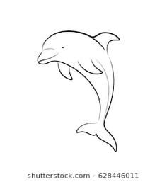 Dolphin Line Art Doodle, a hand drawn vector cartoon illustration of a cute dolphin. Tattoo Femeninos, Dolphin Images, Mermaid Artwork, Visual Communication, Easy Drawings, Animal Drawings, Doodle Art, Tattos, Dolphins