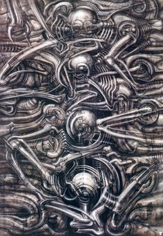 "Giger: Surrealist Artist and ""Alien"" DesignerH. Giger, actually less known for his full name, Hans Ruedi Giger, is a Swiss artist who created highly influential artwork in the style of. Hr Giger Art, Science Fiction, Biomech Tattoo, Sci Fi Kunst, Giger Alien, Arte Sci Fi, Dark Evil, 70s Sci Fi Art, Arte Obscura"