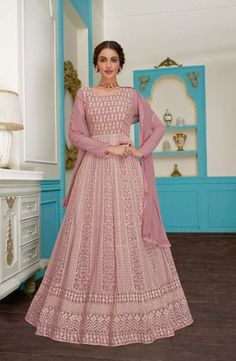 Pink color georgette anarkali salwar suit with embroidery work. Pink anarkali dress georgette fabric top and santoon fabric bottom with nazneen fabric dupatta. Designer Salwar Suits, Designer Anarkali, Anarkali Dress, Anarkali Suits, Kurti Skirt, Abaya Fashion, Indian Fashion, Wedding Salwar Suits, Floor Length Anarkali
