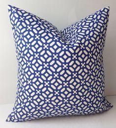 Cobalt Blue Pillow Cover Decorative Pillow Throw Accent Pillow Cushion Lattice