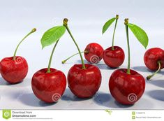 Close-up detail of seven red sweet cherries, with stem and green leaf, with water droplets. White background. Computer generated render, ultra high detail. Illustration for healthy diet bio and vegan visuals  background,cherries,delicious,diet,droplets,green,group,healthy,leaf,red,stem,sweet,vegan,water,white,agriculture,antioxidant,appetizing,berry,branch