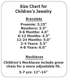 Size Chart for Children's Jewelry
