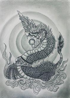 Dragon Head Tattoo, Dragon Tattoos For Men, Dragon Tattoo Designs, Grey Ink Tattoos, Crow Tattoos, Phoenix Tattoos, Ear Tattoos, Thailand Tattoo, Thailand Art
