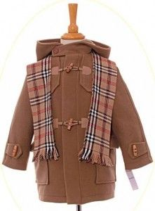 A smart duffel coat. Reduced to just The coat has a quilted lining for extra warmth and a smart check scarf. Childrens Coats, Checked Scarf, 60 Fashion, Duffle Coat, Plaid Scarf, Classic, Collection, Classical Music