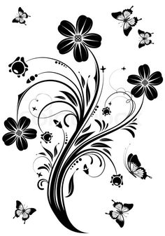 "Buy the royalty-free Stock vector ""Floral ornament with butterfly, element for design, vector illustration"" online ✓ All rights included ✓ High resoluti. Headboard Decal, Butterfly Ornaments, Flower Silhouette, Vintage Borders, Vinyl Quotes, Flower Tattoo Designs, Butterfly Design, Flower Backgrounds, Craft Patterns"