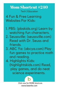 mom hacks Tech and Education Shortcuts Free learning websites for kids! Get your daily source of awesome life hacks and parenting tips! CLICK NOW to discover more Mom Hacks. Good Study Habits, Study Tips, Study Hacks, Learning Websites For Kids, Kids Learning, Learning Tools, Early Learning, Kids And Parenting, Parenting Hacks